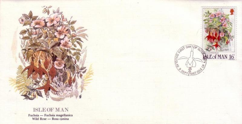 Isle of Man FDC SC# 340 Fucsia, Wild Rose L182