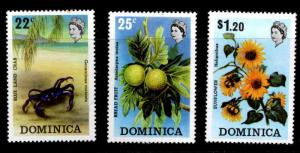 DOMINICA Scott 369-371 MH* 1973 short set 3/4