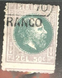Netherlands Indies Scott 16 used 1870  Faded w Franco cancel