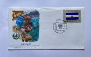 UN FDC ,  EL SALVADOR , AND ITS FLAG  1980