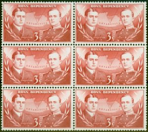 Ross Dependency 1967 3c Carmine-Red SG6 Very Fine MNH Block of 6