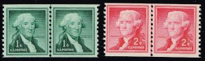 US STAMP #1054,5 1954 Liberty Series Coil Stamps LINE PAIR MNH