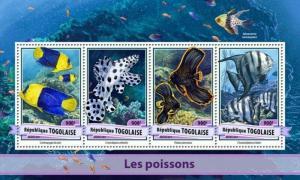 Togo - 2017 Fish on Stamps - 4 Stamp Sheet - TG17106a