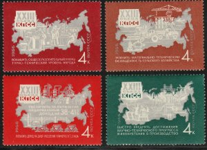 RUSSIA 3246-3249 MAP OF SOVIET UNION, SHORT SET. MINT, NH. VF. (418)