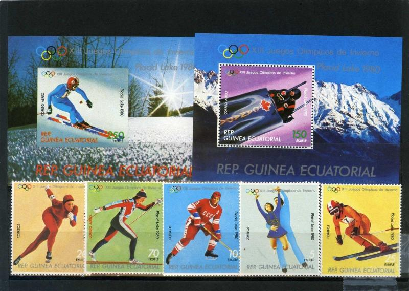 EQUATORIAL GUINEA 1980 WINTER OLYMPIC GAMES LAKE PLACID 5 STAMPS & 2 S/S MNH