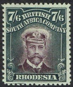 RHODESIA 1913 KGV ADMIRAL 7/6 DIE II PERF 14