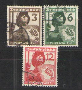 Germany - Third Reich 1937 Sc# 481-483 Used VG - Reich Air Protection League