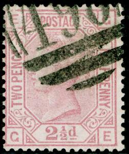 SG141, 2½d rosy mauve PLATE 16, USED. Cat £60. GE