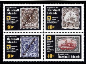 Marshall Islands Scott 50-53a Stamp on Stamp block MNH**