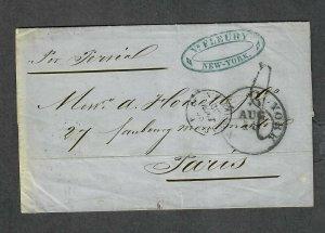 Transatlantic Ship Stampless Cover 1858 New York To Paris France