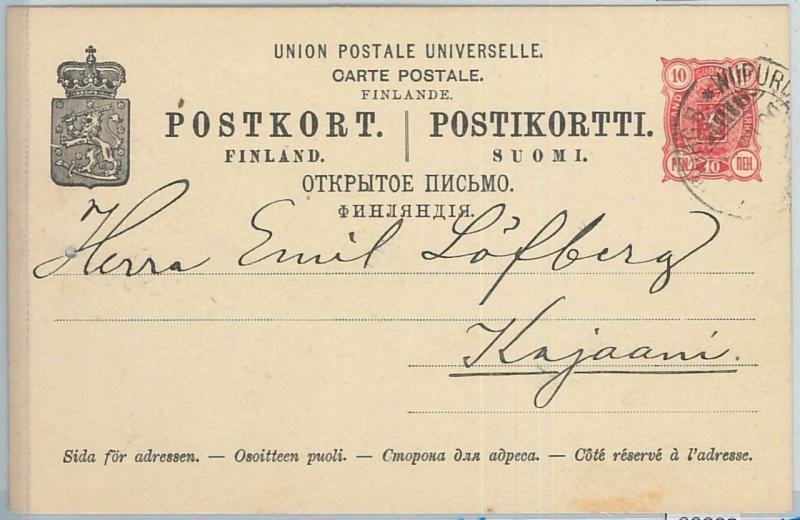 66687 - FINLAND - Postal History - POSTAL STATIONERY CARD from VIBORG  1900