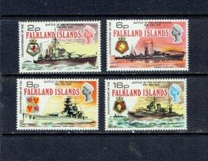 FALKLAND ISLANDS - 1974 BATTLE OF THE RIVER PLATE - SCOTT 237 TO 240 - MNH