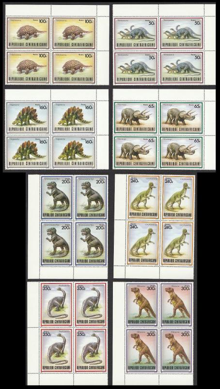 Central African Rep. Prehistoric Animals 8v Corner Blocks SG#1291/98 MI#1312-19
