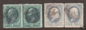 US Sc 147, 156 used 1870-73, 3c green & 1c u;ltra horiz pairs, sound, F-VF