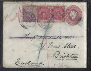 CAPE OF GOOD HOPE (P2810B) 1897  PSE QV 1D+ 6D+ 1D PR REG TO ENGLAND