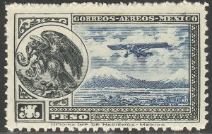 MEXICO C17, $1P Early Air Mail Plane and coat of arms  MINT, NH. VF.
