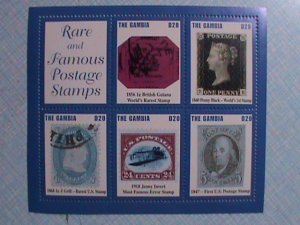 THE GAMBIA: RARE AND FAMOUS STAMPS MINIATURE SHEET MINT NOT HING