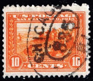 US STAMP #400A 1913 10¢ Panama-Pacific Exposition ORANGE USED