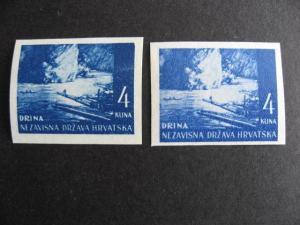 Croatia Sc 37 2 imperfs different shades 1 MNH 1 MH