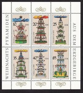 Germany DDR 2646 MNH 1987 Christmas Candle Carousels - Ore Mountains Sheet of 6