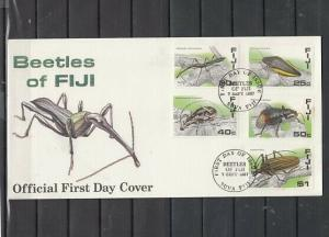 Fiji, Scott cat. 574-577. Insects as Beetles issue. First day cover.