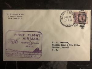 1930 Saint Tomas VIrgin Island Usa first flight cover FFC To Santos Brazil