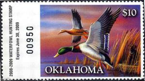 OKLAHOMA #29 2008 STATE DUCK STAMP MALLARDS  by Russ Duerksen