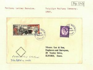 GB WALES *Talyllyn Railway Stamp* 1s Surcharge Cover 3d Wilding 1959 Ap540