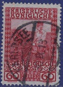Austria - 1908 - Scott #122 - used - KARERSEE pmk Italy