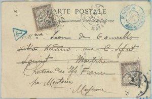 81175 - MADAGASCAR - POSTAL HISTORY -  POSTCARD to FRANCE 1903 TAXED on arrival