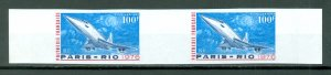 FRENCH POLYNESIA CONCORDE #C127 IMPERF. GUTTER SET...MNH