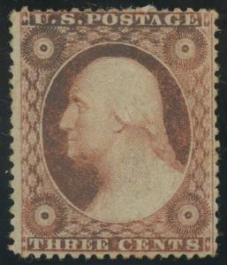 #26 3c 1857 VF OG LH CV $65 AU567