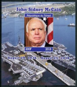 Chad 2018 MNH Senator John McCain 1v IMPF M/S Politicians Famous People Stamps