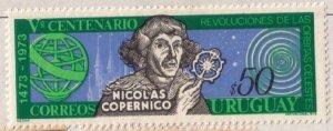 URUGUAY Scott #870 (1973) Nicolaus Copernicus MH F-VF