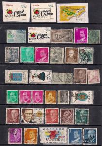 Spain Selection of 36  used stamps some on paper ( C652 )