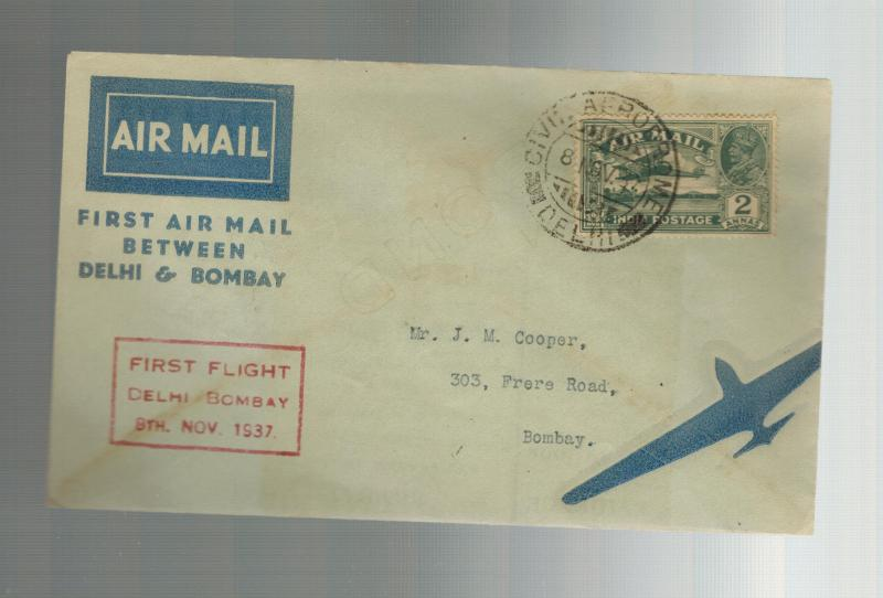 1937 Delhi to Bombay India  First FLight Cover  ATA Airmail FFC