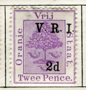 ORANGE FREE STATE; 1900 early QV V.R.I. Optd surcharged issue Mint 2d. value