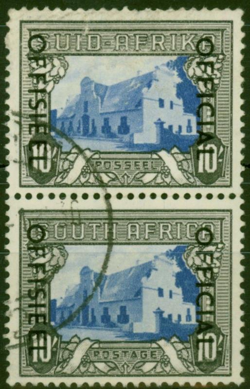 South Africa 1950 10s Blue & Charcoal SG051 Fine Used Vert Pair