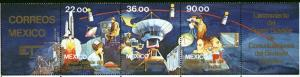 MEXICO 1388a Launch of Morelos Telecom Satellite strip MINT, NH. F-VF.