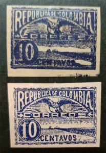 COLOMBIA 1903-04 Scott 242 243 MH Used Stamp Lot T174