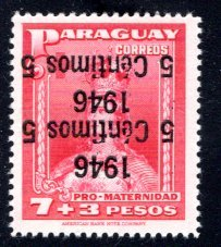 Paraguay #433, Error – Double Inverted Overprint.   MNH ...  4910319