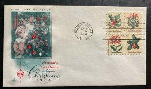 1964 Washington USA First day Cover FDC Season Greetings Sc#1257C