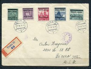 Germany/B&M/Czechoslovakia 1939 Cover to USA MI 4,7-8,12,15 Overp. CV 222 euro