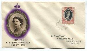 Falkland Islands 1953 QEII Coronation cover with cachet
