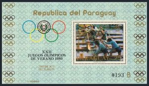 Paraguay C472 sheet,MNH.Michel 3248 Bl.346. Olympics Moscow-1980.Two-man canoe.