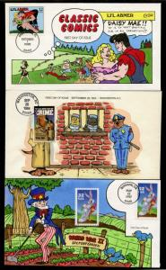 (3) DIFFERENT COMICS & CARTOONS COLLINS HAND PAINTED FDC BQ1543