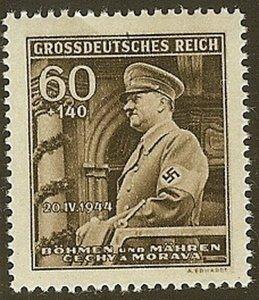 Stamp Germany Bohemia Czech Mi 136 Sc B25 1940 WW2 Fascism War Hitler MNH
