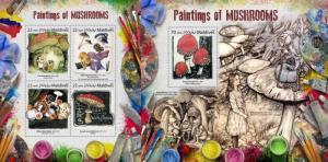 Z08 MLD17810ab MALDIVES 2017 Paintings of mushrooms MNH ** Postfrisch Set