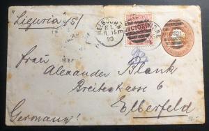1890 Melbourne Australia Postal Stationary Cover To Elberfeld Germany