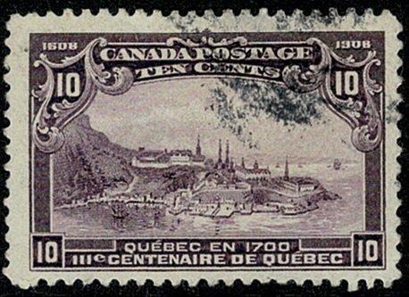 CANADA KE VII 1908 10c VIOLET VFU SG193 Wmk.none P.12 VGC
